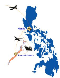 Map travel Manila Puerto Princesa